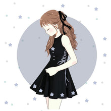 Load image into Gallery viewer, Black Laced Bow Star Dress SP1710093
