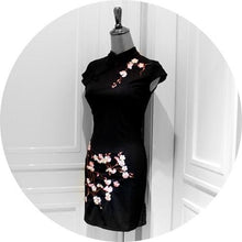 Load image into Gallery viewer, Black Oriental Plum Blossom Cheongsam Dress SP179121