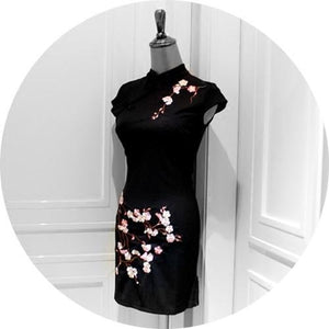 Black Oriental Plum Blossom Cheongsam Dress SP179121