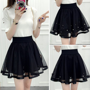 Black Tulle Pleated Bubble Skirt SP179350