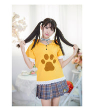 Load image into Gallery viewer, Grey/Yellow Neko Atsume Lace Hoodie Shirt SP179685