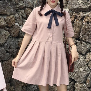 Hot Pink/Navy Sweet Bow Pleated Dress SP1812520