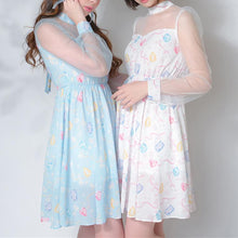 Load image into Gallery viewer, Light Purple/Light Blue/Light Yellow Babydoll Mesh Sleeved Dress SP179087