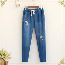Load image into Gallery viewer, M/L Kawaii Cat Embroidery Jeans Pants SP168246