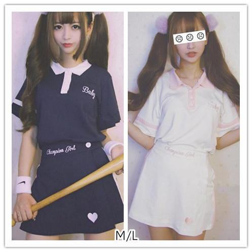M/L Navy/White Sport Queen Polo Summer Shirt/Pantskirt SP152507
