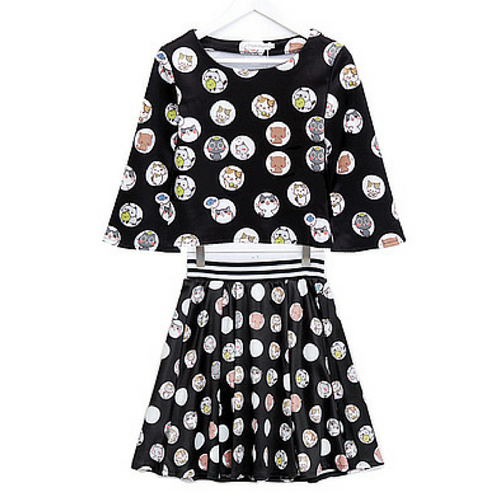 [Neko Atsume] S/M/L Black Neko Cat Top and Skirt Set SP166438