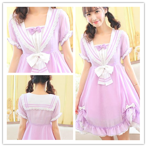 Pasetl Purple Lolita Sailor Dress SP152926