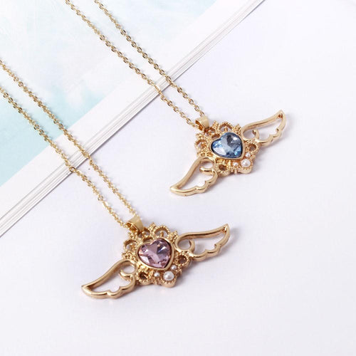 Pink/Blue Angel Heart Necklace SP179568