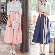 Load image into Gallery viewer, Pink/Blue Chinese Style Shirt/Skirt Set SP179919