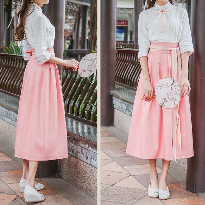 Pink/Blue Chinese Style Shirt/Skirt Set SP179919