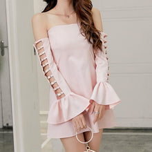 Load image into Gallery viewer, Pink/White/Black Off Shoulder Dress SP1812391