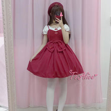 Load image into Gallery viewer, [Reservation] Kawaii Cherry Bowknot Shirt/Suspender Dress SP179686
