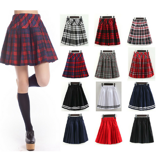 S-3XL Uniform Pleated Skirt SP154547
