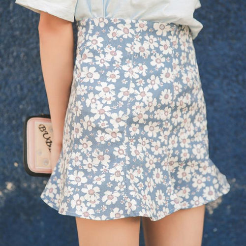 S-L Grey/Blue Floral Falbala Skirt SP166787