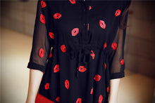 Load image into Gallery viewer, S-XL White/Black Red Lips Chiffon Dress SP153017