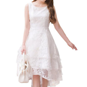 S-XL White Elegant Sleeveless Lace Dress SP167130