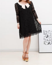 Load image into Gallery viewer, S-3XL White/Black Graceful Long-sleeved Lace Dress SP165602