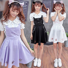 Load image into Gallery viewer, Final Stock! 3 Colors Kawaii Neko Cat Lolita Bubble Suspender Dress SP168599