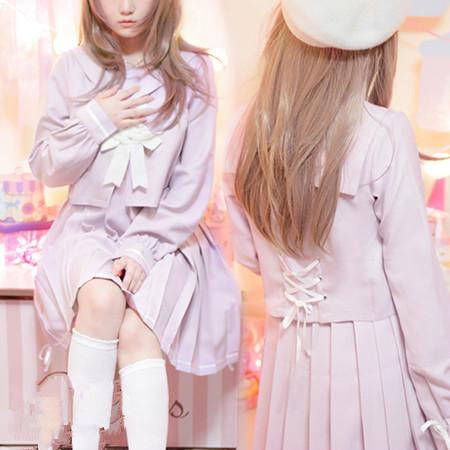 S/M/L Kawaii Sailor Top/Dress With Bandage SP165009