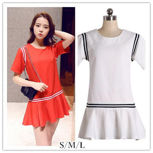 S/M/L Red/White Loose Summer Dress SP152476