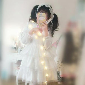 S/M/L White Lolita Sweet Princess Dress With Strawberry Embroidery SP165170