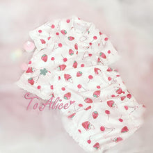 Load image into Gallery viewer, S/M Pink/White Strawberry Cherry Printing Two Pieces Sleepwear Set SP167106