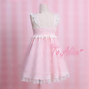 S/M Pink Retro Maid Suspender Dress SP167115