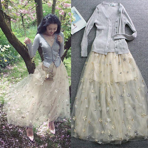 Starry Night Midi Tulle Skirt SP1710259