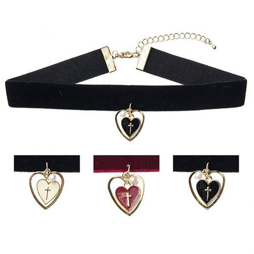 White/Black/Red Harajuku Holy Heart Choker SP168585