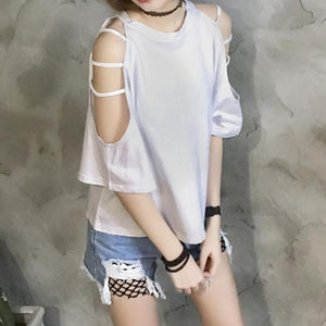 White/Black Elegant Loose Strapless T-Shirt SP1710322