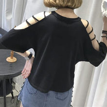 Load image into Gallery viewer, White/Black Elegant Loose Strapless T-Shirt SP1710322