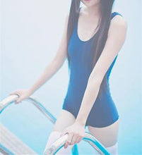 Load image into Gallery viewer, White/Blue Simple Sleeveless One Piece Swimming Suit SP165900