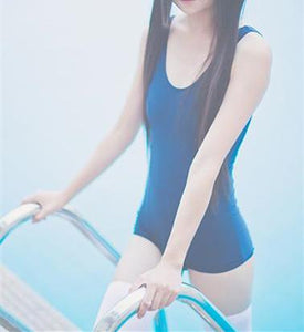 White/Blue Simple Sleeveless One Piece Swimming Suit SP165900