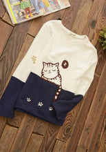 Load image into Gallery viewer, White/Grey Kawaii Cat Printing Jumper SP168175
