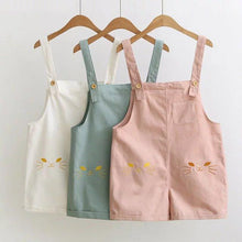 Load image into Gallery viewer, White/Pink/Blue Kawaii Cat Embroidery Suspender Shorts SP1812120