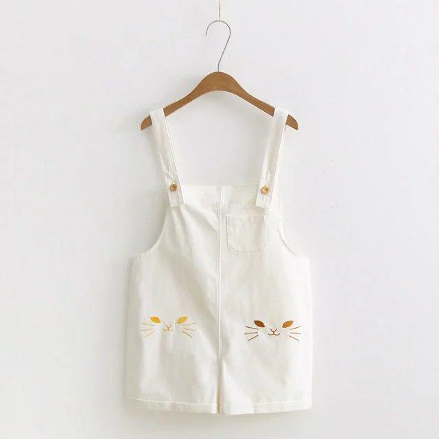 White/Pink/Blue Kawaii Cat Embroidery Suspender Shorts SP1812120
