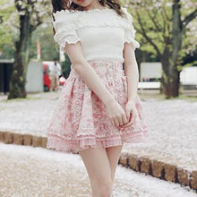Load image into Gallery viewer, White/Pink Elegant Rose Ruffle High Waisted Skirt SP179351