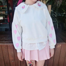 Load image into Gallery viewer, White Kawaii Heart Embroidery Jumper SP168108