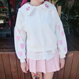 White Kawaii Heart Embroidery Jumper SP168108