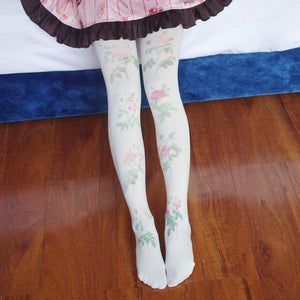 White Rose Garden Stocking Tights Pantyhose SP178821