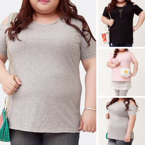 XL-4XL Gray/Black/Pink Plus Size Shoulder Off T-Shirt SP166561