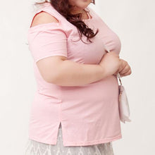 Load image into Gallery viewer, XL-4XL Gray/Black/Pink Plus Size Shoulder Off T-Shirt SP166561