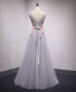 Gray V Neck Tulle Lace Long Prom Dress, Evening Dress