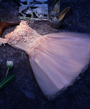 Load image into Gallery viewer, Pink A Line Tulle Lace Short Prom Dress, Homecoming Dress