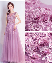 Load image into Gallery viewer, Stylish Round Neck Tulle Long Prom Dress, Lace Evening Dress