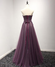 Load image into Gallery viewer, Pruple Sweetheart Neck Lace Long Prom Dress, Formal Dress