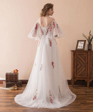 Load image into Gallery viewer, White V Neck Tulle Lace Long Prom Dress, White Evening Dress