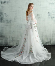 Load image into Gallery viewer, White V Neck Tulle Lace Long Prom Dress, Evening Dress