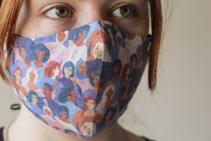 Reusable mask 'women of the world' illustration