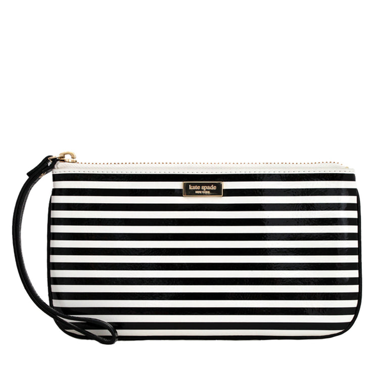 Kate Spade Ocean Drive Stripe Zippered Chrissy Wristlet- Black-Cream